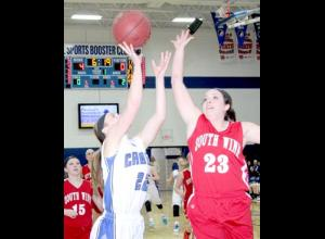 Brynn Bodermann goes up for a layup against South Winn.